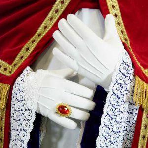 Handschoen Wit  met Knoop