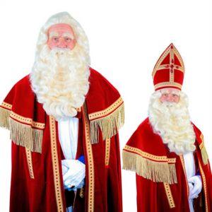 060f. Pruik met Baard Kerstman of Sinterklaas Buffelhaar