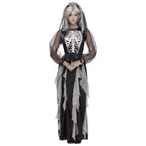 Skelet jurk lang met sluier