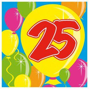 Servetten Balloons 25 jaar (20 stuks)