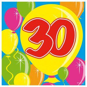 Servetten Balloons 30 jaar (20 stuks)