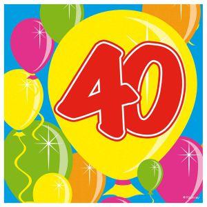Servetten Balloons 40 jaar (20 stuks)