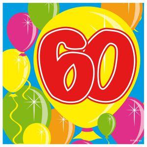 Servetten Balloons 60 jaar (20 stuks)
