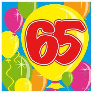 Servetten Balloons 65 jaar (20 stuks)