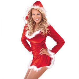 Kerstvrouw Sexy Santa met capuchon