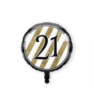 Folieballon Black & Gold 21 jaar