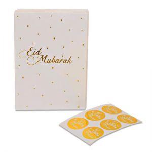 Papieren Uitdeelzakjes Eid Mubarak met stickers Roze Goud