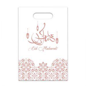 Uitdeelzakjes Eid Mubarak wit