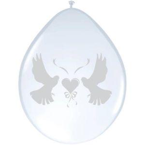Latex Ballonnen Metallic duiven met hart