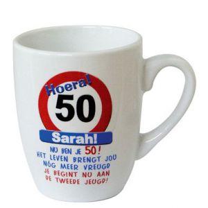 Leeftijd Mok Verkeersbord 50 jaar Sarah