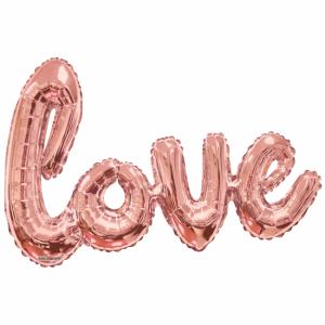 Folieballon Love Roze Goud