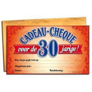 Cadeau Cheque 30 jaar