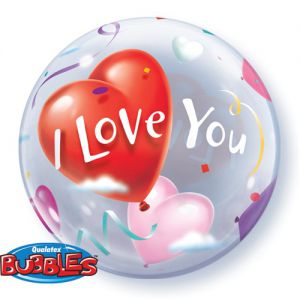 Gevulde Folieballon bubbles I Love You