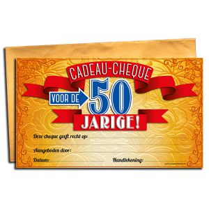 Cadeau Cheque 50 jaar