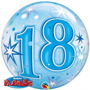 Folieballon bubbles 18 jaar blauw