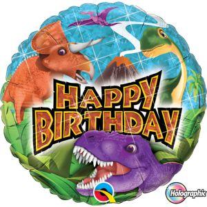 Folieballon bubbles Holografisch Happy Birthday Dino