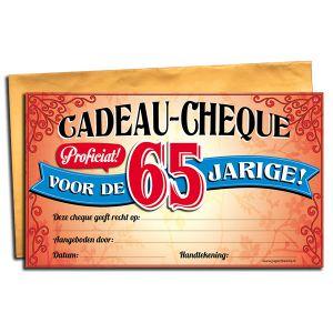 Cadeau Cheque 65 jaar