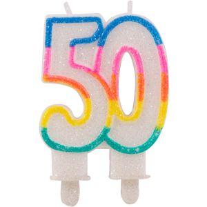 Kaarsje glitter 50