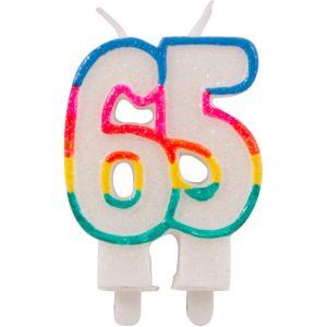 Kaarsje glitter 65