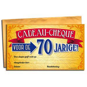 Cadeau Cheque 70 jaar