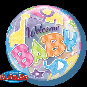 Gevulde Folieballon bubbles Welcome Baby