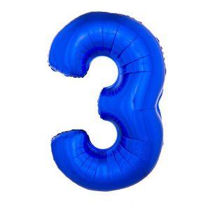 Folieballon Blauw Cijfer 3, 102 Cm