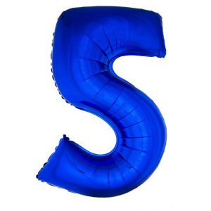 Folieballon Blauw Cijfer 5, 102 Cm