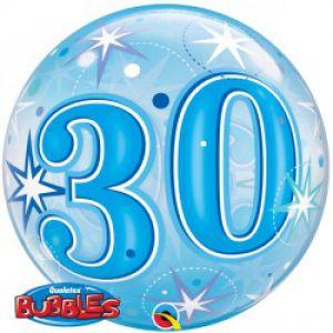 Folieballon bubbles 30 jaar blauw