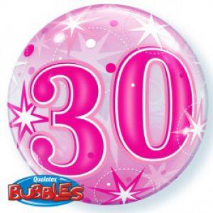 Gevulde Folieballon bubbles 30 jaar roze