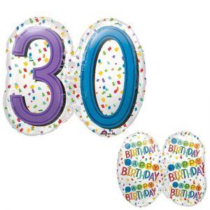 Gevulde Folieballon 30 jaar SuperShape
