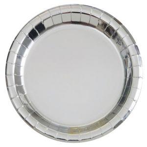 Bordjes Zilver 18 cm. 8 stuks