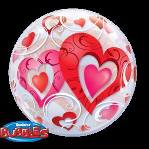 Gevulde Folieballon bubbles Hartjes