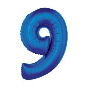 Folieballon Blauw Cijfer 9, 102 Cm