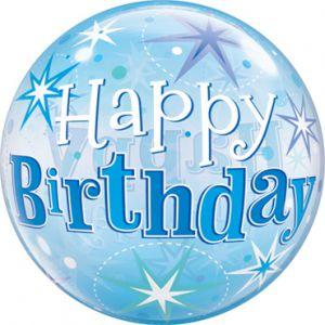 Gevulde Folieballon bubbles Happy Birthday blauw
