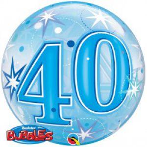 Folieballon bubbles 40 jaar blauw