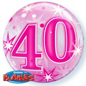 Folieballon bubbles 40 jaar roze