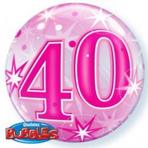 Gevulde Folieballon bubbles 40 jaar roze
