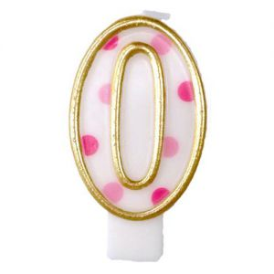 Verjaardags Kaarsje Cijfer 0 Goud/Roze