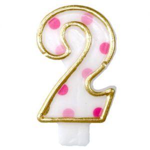 Verjaardags Kaarsje Cijfer 2 Goud/Roze