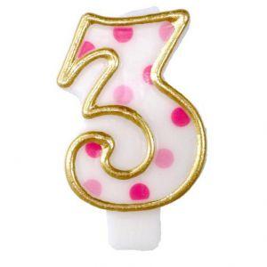Verjaardags Kaarsje Cijfer 3 Goud/Roze