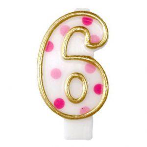 Verjaardags Kaarsje Cijfer 6 Goud/Roze