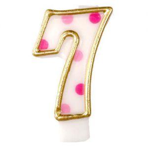 Verjaardags Kaarsje Cijfer 7 Goud/Blauw