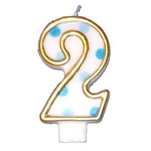 Verjaardags Kaarsje Cijfer 2 Goud/Blauw