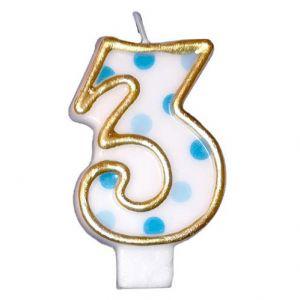 Verjaardags Kaarsje Cijfer 3 Goud/Blauw