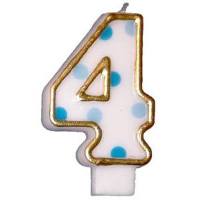 Verjaardags Kaarsje Cijfer 4 Goud/Blauw