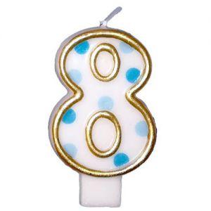 Verjaardags Kaarsje Cijfer 8 Goud/Blauw