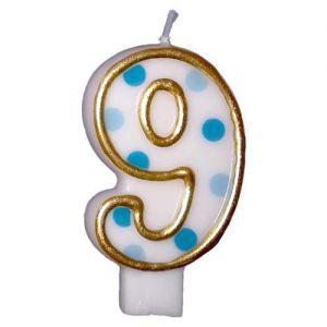 Verjaardags Kaarsje Cijfer 9 Goud/Blauw