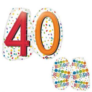 Gevulde Folieballon 40 jaar SuperShape