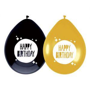 Latex Ballonnen Goud Zwart Happy Birthday
