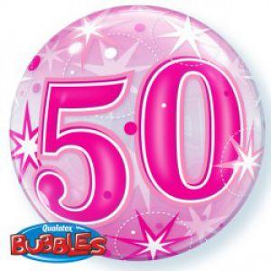 Gevulde Folieballon bubbles 50 jaar roze